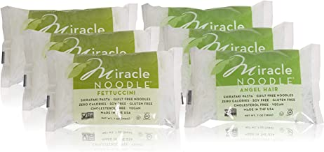 Miracle Noodle Shirataki Fettuccini & Angel Hair Variety Pack, Gluten-Free, Zero Carb, Keto, Vegan, Soy Free, Paleo, Blood...