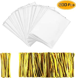 Oruuum 200 Pcs Thick OPP Food Packaging Bag, Transparent Food Storage Bag With Gold Rope - 2.44mils-Double deck, Transparent Plastic Bag For Lollipop Chocolate Biscuit (4'' X 6'').