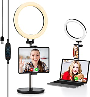 """Ring Light with Stand & Tablet Phone Holder, Yoozon 10"""" Desk Ring Light for iPad Computer Laptop, for Zoom Meeting/Video C..."""