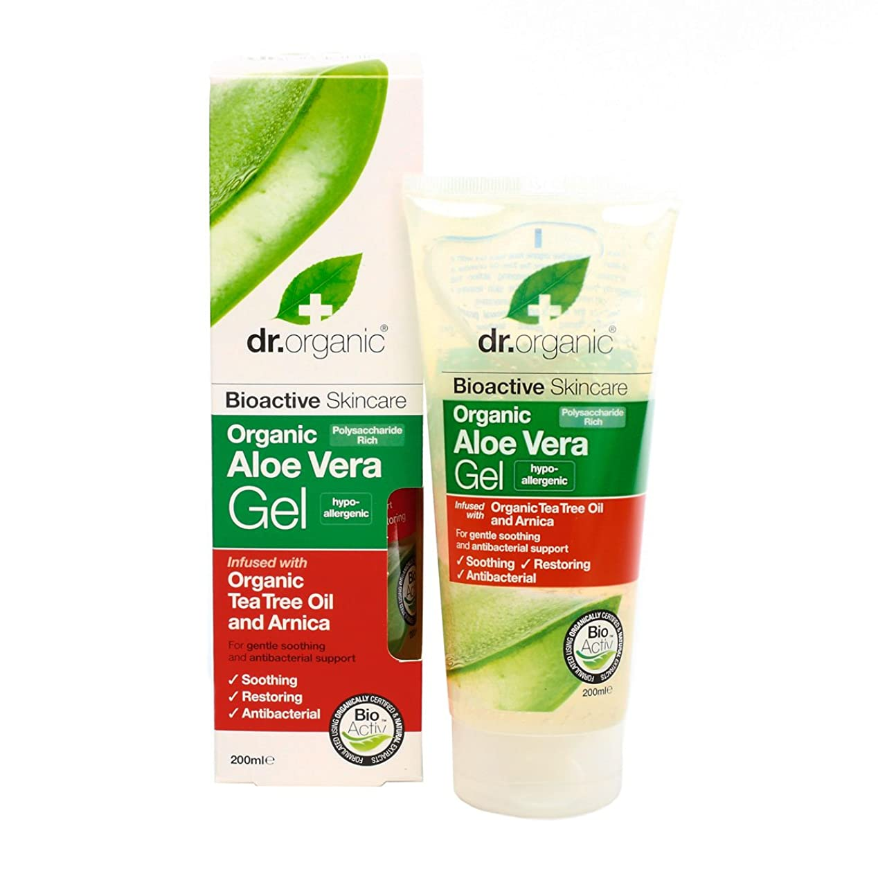 側ひねくれた土地Dr.organic Organic Aloe Vera Gel With Organic Tea Tree Oil And Arnica 200ml [並行輸入品]