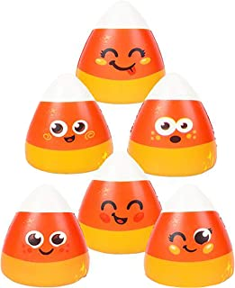 Rhode Island Novelty 6 Pack Halloween Squishies Toys Slow Rising Candy Corn Emoticons