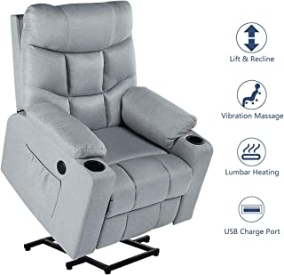 Esright Power Lift Chair Electric Recliner for Elderly Heated Vibration Fabric Sofa Living Room Chair with 2 Side Pockets and Cup Holders, USB Charge Port & Remote Control,Grey