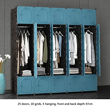 Ultra Time Empty Wardrobe Clothes Portable Wardrobe Closet Modular Storage Organizer Space Saving Armoire Deeper Cube with Hanging Rod 25 Doors