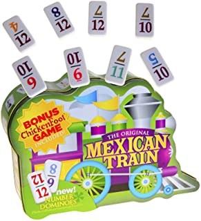 Dominoes Mexican Train, Double 12 Set, with Color-Coded NUMBERED Dominoes