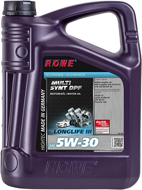 Rowe Hightec Multi Synt Dpf 5w 30 Pkw Motoröl Vollsynthetisch Hc Synthese Made In Germany 5 Liter Auto