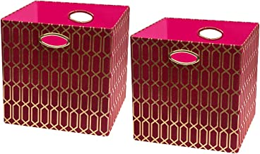 Posprica Storage Bins - Foldable Basket Cubes Organizer Boxes Containers Drawers,Geometric Pattern,Red/gold-13''×13'',2pcs