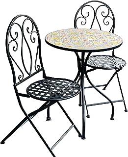 Patio Setting Sicily Mosaic Metal 3 Piece Bistro Balcony Garden Furniture Outdoor Home Decor