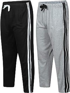 Mens Pyjamas Set Loungewear Lounge Pants Nightwear Comfy Striped Trousers Bottoms Cotton 2 pack Set