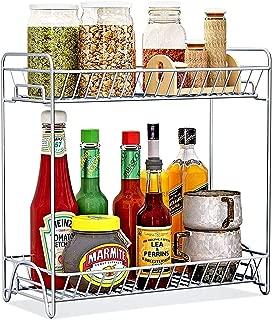 Spice Rack 2 Tier Standing Rack (Large Size), OOFO Kitchen Bathroom Countertop Storage Organizer Spice Jars Bottle Shelf Holder Rack