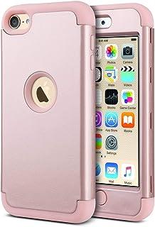 ULAK Funda iPod Touch 7, iPod Touch 5/6 Carcasa Híbrido 3 en 1 Silicona Suave Cubierta de la Suave Resistente a Rayones Absorción de Choque Caso para iPod Touch 5ª/6ª/7ª Generación - Oro Rosa
