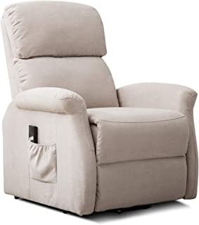 ANJ Power Lift Recliner Chair for Elderly with Remote Control, Heavy Duty Reclining Sofa Soft Fabric Living Room Chair with Plush Padding Seat, Light Grey