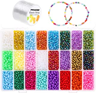 Pony Seed Beads Kit, 9000 Pcs 4mm Small Seed Beads for Bracelet and Jewelry Making by Paxcoo, with 2 Rolls Elastic String ...