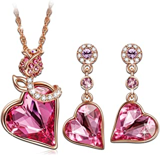 Christmas Jewellery Set Gifts Rose Lover Rose Gold Plated Necklace Earrings Jewelry Set with Swarovski Crystals