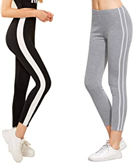 DTR FASHION Women's Active Wear Ankel Length Side Stripped Jegging