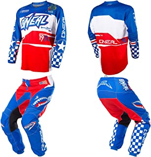 O'Neal Element Afterburner Blue/Red/White motocross MX off-road dirt bike Jersey Pants combo riding gear set (Pants W36 / Jersey X-Large)