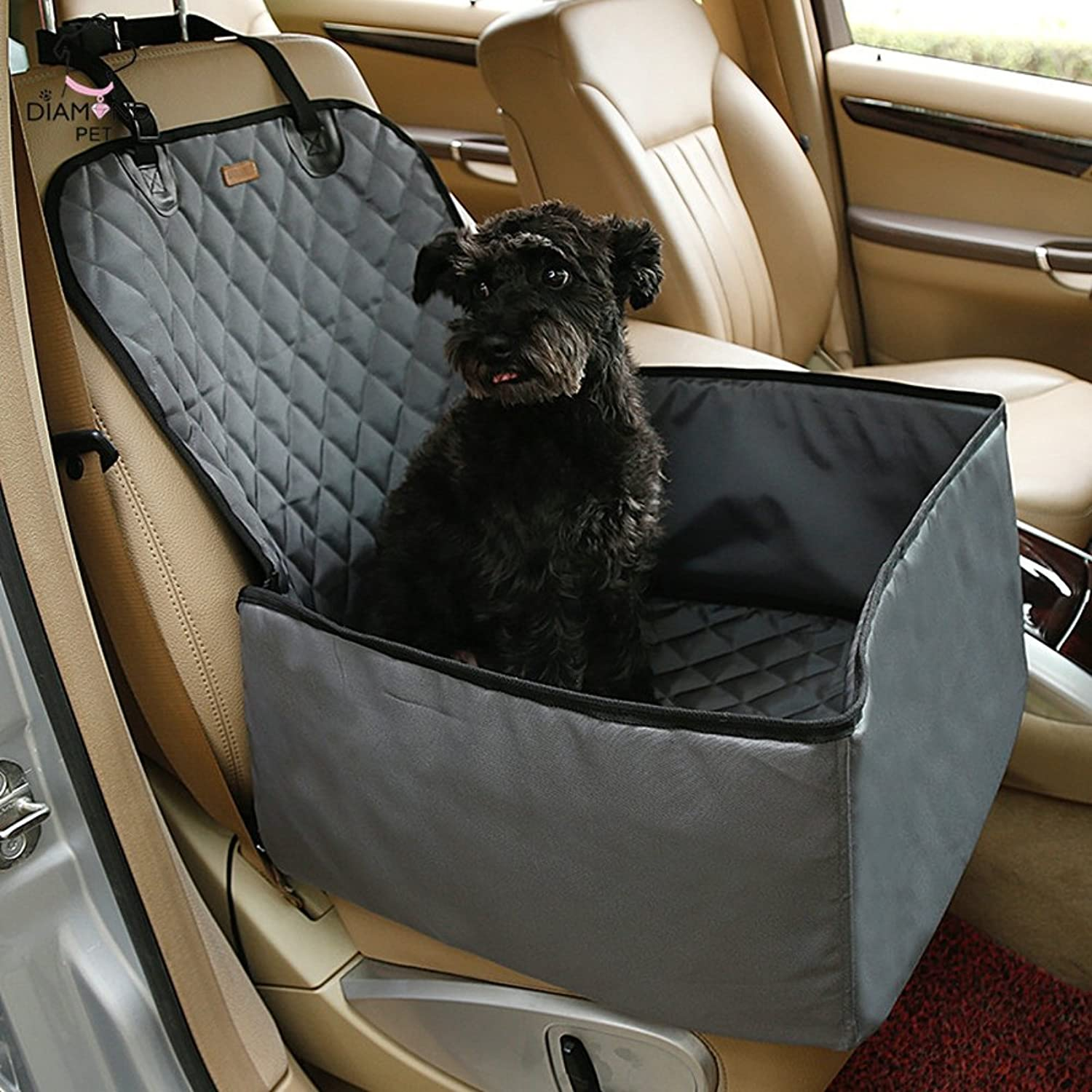 Elfjoy 2 in 1 Deluxe Pet Front Seat Cover for Cars Waterproof Oxford Bucket Booster Seat (Grey)