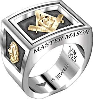 US Jewels And Gems Men's Two-Tone Master Mason 0.925 Sterling Silver and 14k Yellow Gold Freemason Masonic Ring