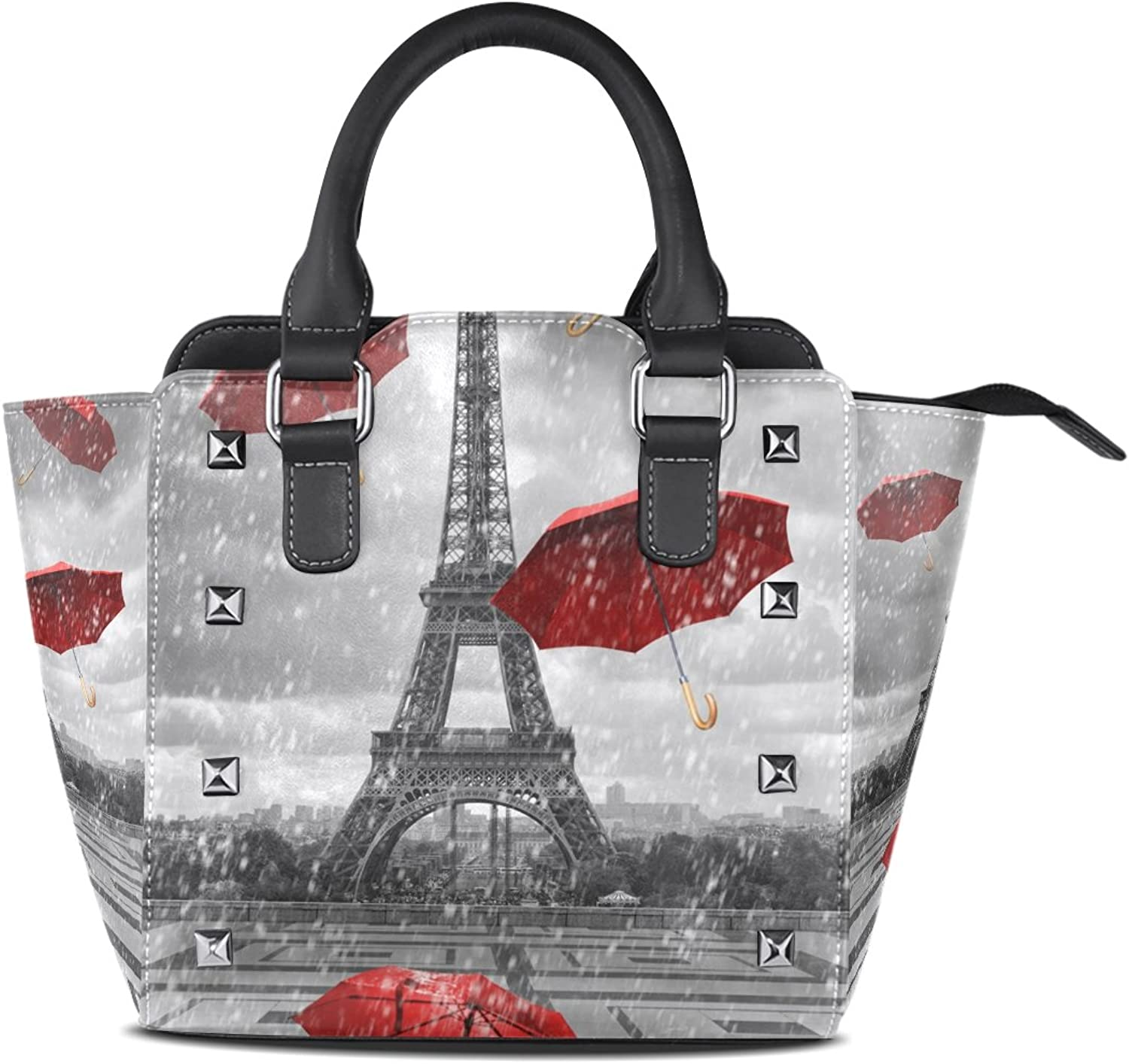 My Little Nest Women's Top Handle Satchel Handbag Eiffel Tower Red Umbrellas Ladies PU Leather Shoulder Bag Crossbody Bag
