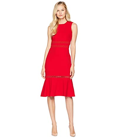 Calvin Klein A-Line Dress w/ Faggoting Trim (Red) Women