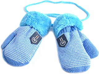 Infant Baby Toddler Unisex Winter Thick Warm Knitted Gloves Mittens with String