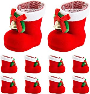 Librao 10pcs Christmas Candy Red Boots Shoes Santa Gift Stocking Snacks Pen Container Bags Home Decorations Xmas Tree Ornaments Hanging Pendants Decor