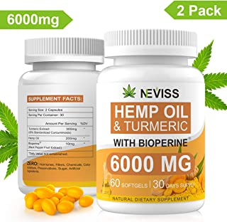 (2 Pack) Hemp Oil Capsules with Turmeric & Bioperine - Pure Hemp Oil Extract 6000 MG for Pain Relief, Stress & Anxiety Relief, Sleep Support - Organic Hemp Extract Capsules Softgels - 60 Capsules