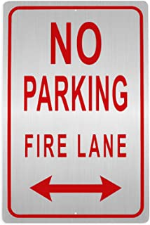 Juvale Fire Lane Sign - No Parking on Marked Fire Lane Warning with Double Headed Arrow, Rust Free Aluminum, Red on White, 18 x 12 Inches