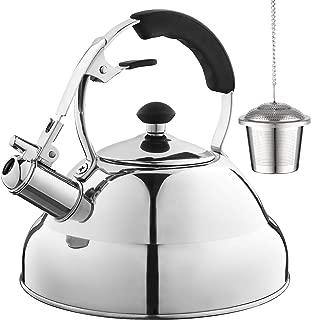 Eurolux Tea Kettle - Teapot with Capsule Bottom and Mirror Finish, 2.75 Quart Tea Pot - Stove Top Tea Maker Infuser Teapots Strainer Included