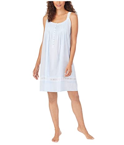 Eileen West Cotton Dobby Stripe Woven Sleeveless Short Nightgown (Blue) Women