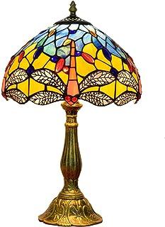 QGL-HQ Tiffany Vitrail Lampe de Bureau Lampe Salon Créativité Pastorale américaine Nuit Bar Art Jaune Libellule intérieur ...