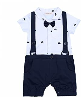 G-Kids Baby Jungen Strampler Smoking Einteiler Gentleman Strampler Sommer Kleidung Taufkleidung Festlich Fliege Outfit