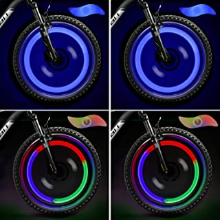 TAGVO LED Roue Lumières (Rouge + Vert + Bleu + Multicolore) Lot de 4, Rayons de Roue..