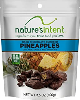 Nature's Intent Dark Chocolate Covered Dried Fruit- Pineapples 3.5 oz. (4 pack) Gluten Free, Whole Food Snacks