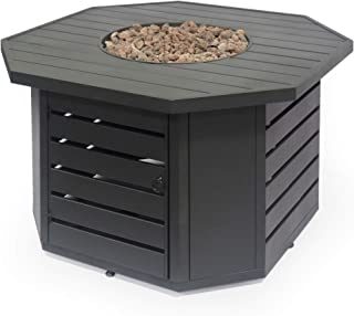 Great Deal Furniture Mona Octagonal Iron Fire Pit, Matte Black
