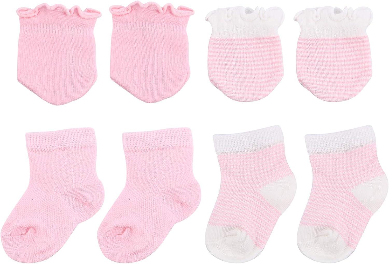 Healifty 4 Pairs of Socks and Mittens for Newborn Girls Newborn Cotton Gloves No Scratch Mittens Pink