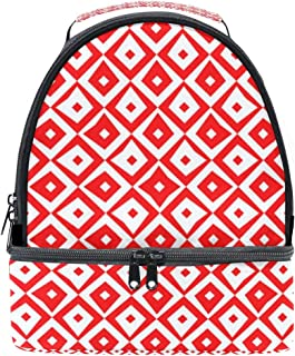 Mydaily Kids Lunch Box Rhombuses Seamless Pattern Reusable Insulated School Lunch Tote Bag