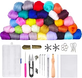 Needle Felting Starter Kit Set, 36 Colors Needle Felting Wool Set Felt Tools Needle Felting Starter Kit Wool Fibre Hand Spinning DIY Craft Supplies