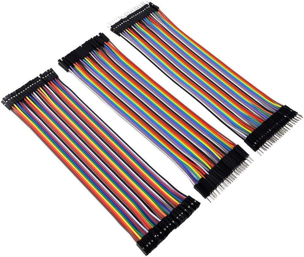 Guangcailun 3PCS 10CM de 40 Pines Macho a Macho a Hembra para Cables Compatible Mujer de Tablero de Puente Dupont L/ínea Kit