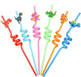 16PCS Dinosaur Reusable Straws for Kids Jurassic Dinosaur Theme Party Supplies Dino Party Favors Goodie Bag Birthday Gifts for Boys Kids Boys