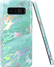 JIAXIUFEN Shiny Change Color Mint Marble Design Clear Bumper TPU Soft Rubber Silicone Cover Phone Case for Samsung Galaxy Note 8