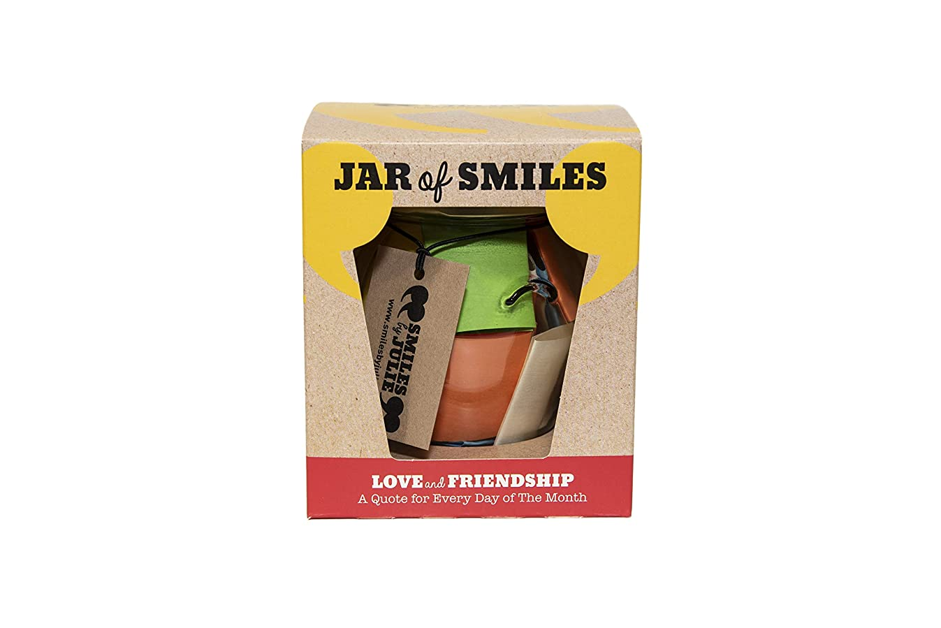 Love & Friendship in a Jar. Month of Thoughtful & Happy Quotations for Your Friends in a 314ml Orcio Glass Jar 31 Multi-Colored Quotes. Be The Reason Someone Smiles Today- Gift Box.