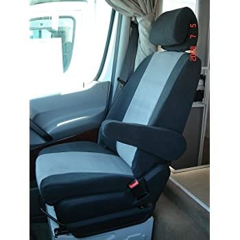Polycotton Charcoal Covercraft SS2451PCCH SeatSaver Front Row Custom Fit Seat Cover for Select Mercedes-Benz Sprinter Models