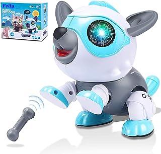 Felly Perro Robot para Niños, Juguete Robot para Bebe, Juegos Interactivo con Emociones y Movimiento, Ladra y Juega con su...