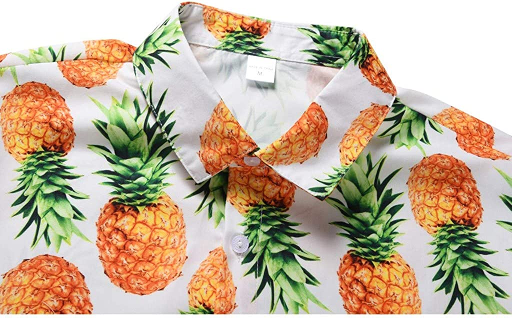 MODOQO Mens Printed Hawaiian Loose Beachwear Short Sleeve Casual Buttons Shirt
