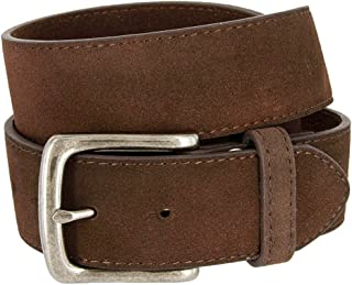"Hagora Men Retro Cracked Worn Out Genuine Leather 1.5/"" Wide 5 Hole Snap On Belt"