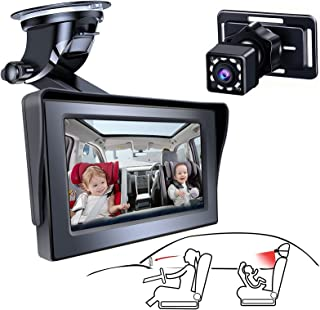Baby Car Mirror Backseat Baby Car Camera with Wide Crystal Clear View, Adjustable Sucker Bracket, Easily Observe the Baby'...