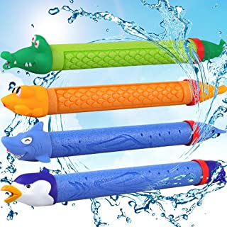 POKONBOY Water Blaster 4 Pack Foam Water Guns Water Soaker Squirt Gun for Kids Water Shooter for Summer Outdoor Party Favor(Random)