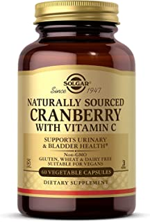 Solgar Natural Cranberry with Vitamin C, 60 Vegetable Capsules - Supports Urinary & Bladder Health - With Vitamin C for Im...