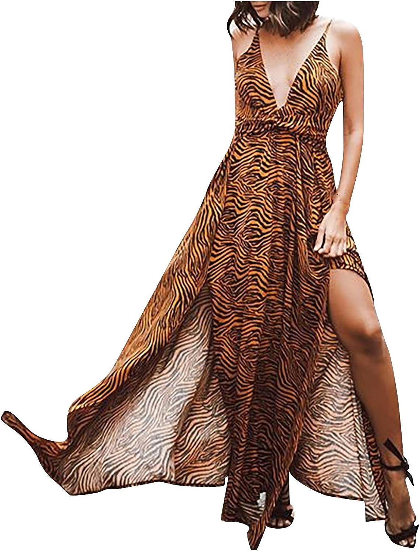 Auwer Maxi Dresses for Women Dress free Neck Popular standard Sleeveless Sexy Strip V-