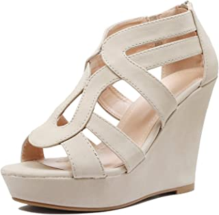 63a41ec84b2f4 Guilty Heart Womens Gladiator Strappy Cut Out Open Toe Platform -  Comfortable High Heel Wedge Sandals